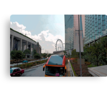Cartoon - Tourist bus for Sentosa in front of the Marina Bay Sands Canvas Print