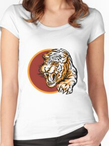 Roaring tiger logo design Women's Fitted Scoop T-Shirt