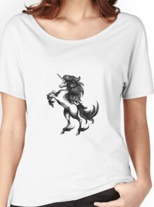 Heraldry unicorn drawn in engraving style Women's Relaxed Fit T-Shirt