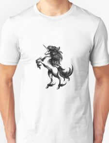 Heraldry unicorn drawn in engraving style Unisex T-Shirt