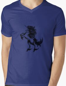 Heraldry unicorn drawn in engraving style Mens V-Neck T-Shirt
