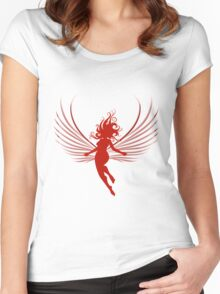 Sulhoutte of flying woman  Women's Fitted Scoop T-Shirt
