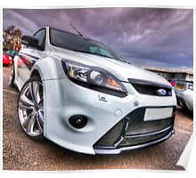 White Ford Focus RS Turbo Poster