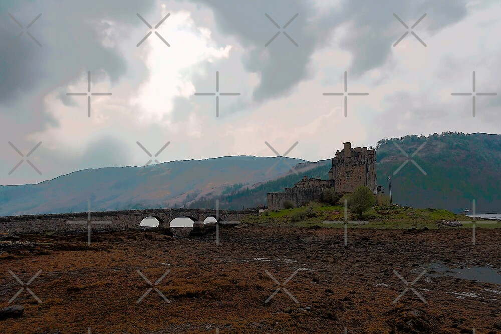 Cartoon - The Eilean Donan Castle along with the stone bridge in front by ashishagarwal74