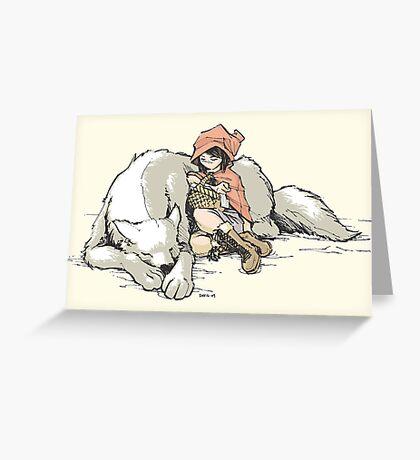 Petite Rouge en le Loup  Greeting Card