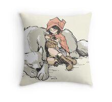 Petite Rouge en le Loup  Throw Pillow