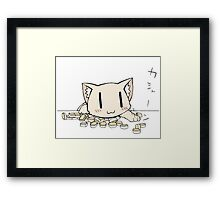 Cat playing Mahjong Framed Print