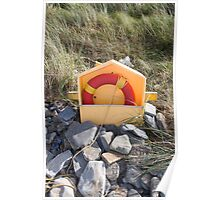 beach lifebuoy buried in the stones Poster