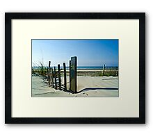 Fence on a Beach Framed Print