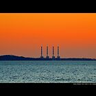 National Grid Power Plant Chimneys Against Golden Evening Sky - Asharoken, New York  by  Sophie Smith