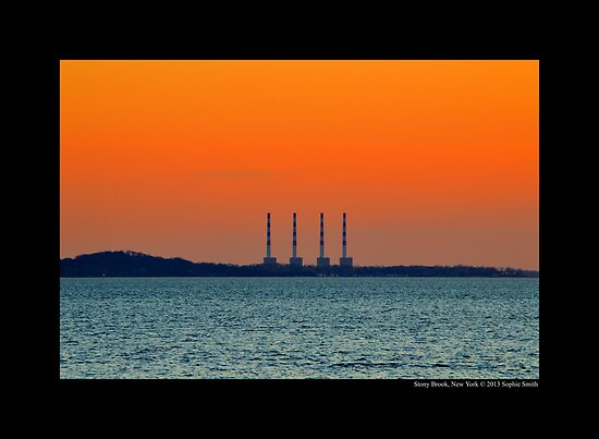 National Grid Power Plant Chimneys Against Golden Evening Sky - Asharoken, New York  by © Sophie W. Smith