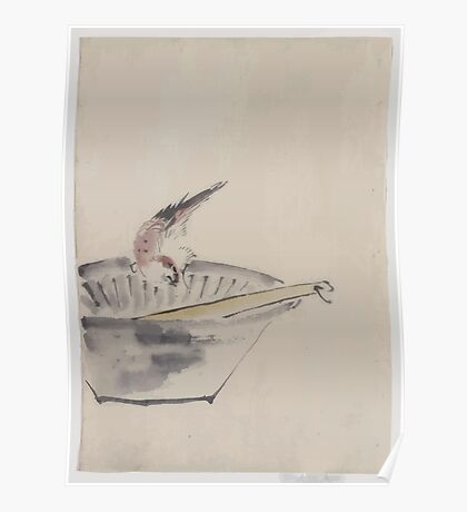 A bird perched on the edge of a bowl with head cocked looking at a utensil in the bowl 001 Poster