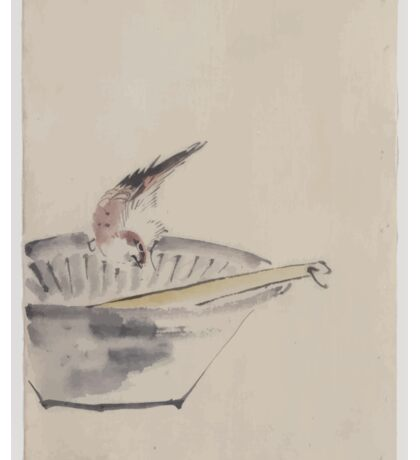 A bird perched on the edge of a bowl with head cocked looking at a utensil in the bowl 001 Sticker