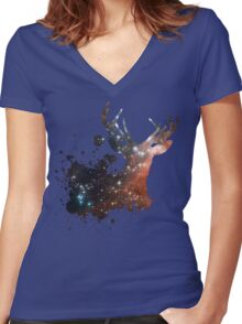 Space Stag Women's Fitted V-Neck T-Shirt