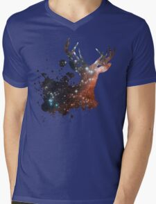 Space Stag Mens V-Neck T-Shirt