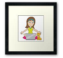 Happy Laptop Lady Framed Print