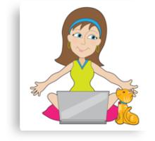 Happy Laptop Lady Canvas Print