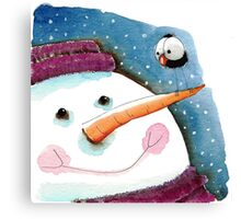 Snowman in purple Canvas Print