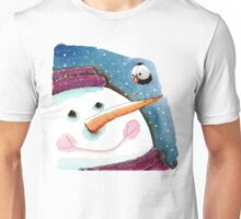 Snowman in purple Unisex T-Shirt