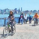 Bicycling Along Pier A Hoboken NJ by Susan Savad