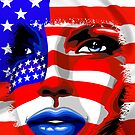 Usa Flag on Girl&#x27;s Face by BluedarkArt