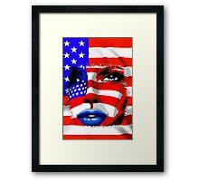 Usa Flag on Girl's Face Framed Print
