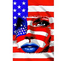 Usa Flag on Girl's Face Photographic Print
