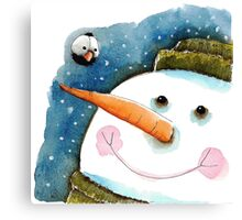 Snowman in green Canvas Print