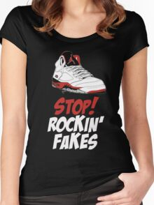 STOP! ROCKIN' FAKES (Red & White) Women's Fitted Scoop T-Shirt