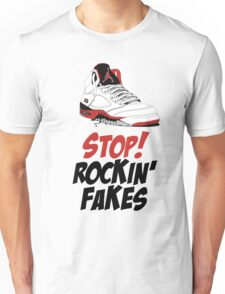STOP! ROCKIN' FAKES (Red & Black) Unisex T-Shirt