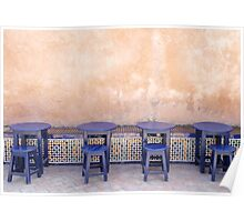 Four Blue Tables - Rabat Morocco Poster