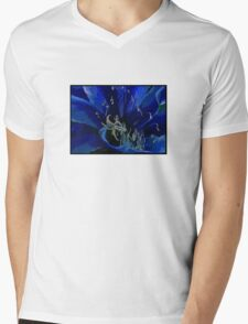 Blue Macro Mens V-Neck T-Shirt