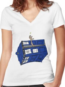 What if Gollum had TARDIS... Women's Fitted V-Neck T-Shirt