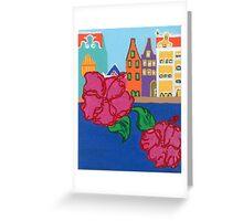 Handelskade with Red Flowers Greeting Card
