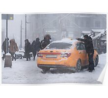 Yellow Car - Snowstorm Poster