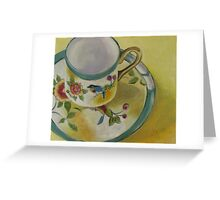 Little Cup with Bird Motif Greeting Card