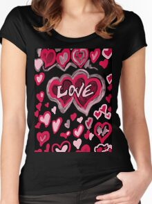 Love abstract Women's Fitted Scoop T-Shirt