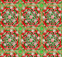 Red, Green, and White Snowflake  by Scott Mitchell