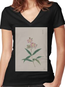 Five petal red on white blossoms on stem above two three leaf whorls 001 Women's Fitted V-Neck T-Shirt