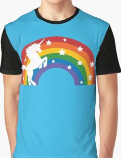 Retro Unicorn and Rainbow Graphic T-Shirt
