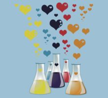 Chemistry Flask, Hearts - Red Blue Yellow Purple Kids Tee