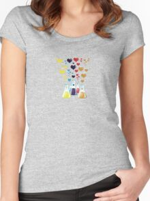 Chemistry Flask, Hearts - Red Blue Yellow Purple Women's Fitted Scoop T-Shirt