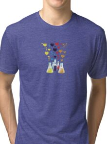Chemistry Flask, Hearts - Red Blue Yellow Purple Tri-blend T-Shirt