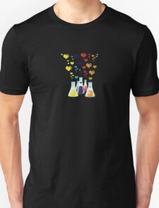 Chemistry Flask, Hearts - Red Blue Yellow Purple T-Shirt