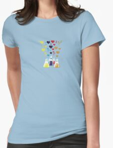 Chemistry Flask, Hearts - Red Blue Yellow Purple Womens Fitted T-Shirt