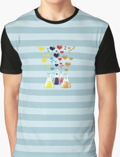 Chemistry Flask, Hearts - Red Blue Yellow Purple Graphic T-Shirt