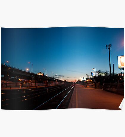Looking West From Exhibition GO Station At Dusk Poster
