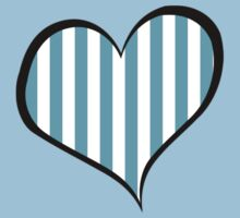 Stripes (Parallel Lines), Heart - Blue White One Piece - Short Sleeve