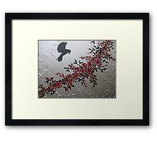 picture of a bird with red grey gray silver black blossom and leaves Framed Print