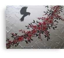 picture of a bird with red grey gray silver black blossom and leaves Canvas Print